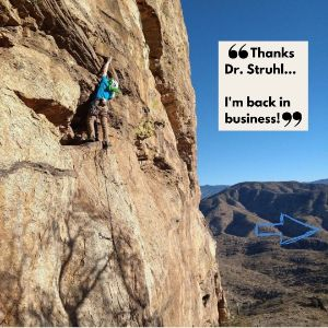 "Man climbing the mountain with quote ""Thanks Dr. Struhl.. I'm back in business!"""