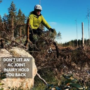 """Man riding bike with caption """"Dpm't let an ac joint injury hold you back"""""""